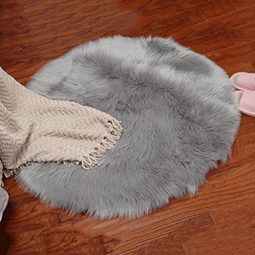 Unbekannt Skandinavien Teppich Moderne einfache einfarbige hängenden Korb Schlafzimmer runden Teppich Teppiche/Matte (Farbe : Hellgrau, größe : Diameter80cm)