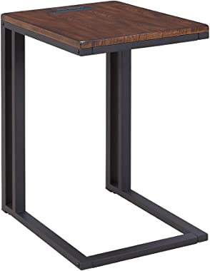 One Source Living Soho C-Table with Charging Station in Espresso