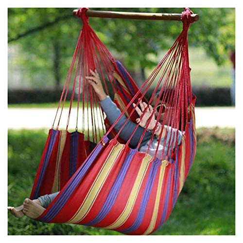 WERTYG Canvas Hammock Swing Chair,Rainbow Color Hanging Hammock Chair Perfect for Indoor/Outdoor Swing Chair Hammock150 130cm