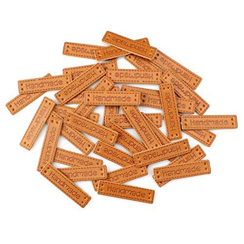 Baven 120 Pcs Etiqueta de Cuero de La PU Etiquetas de Costura Duraderas Decoración de Ropa Hecha a Mano con Agujeros de Costura, Accesorios de Costura para Diy Ropa, Sombreros, Bolsos