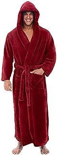 Fashion Casual Mens Bathrobes Flannel Robe Hooded Long Sleeve Couple Men Woman Robe Plush Shawl Kimono Warm Male Bathrobe ...