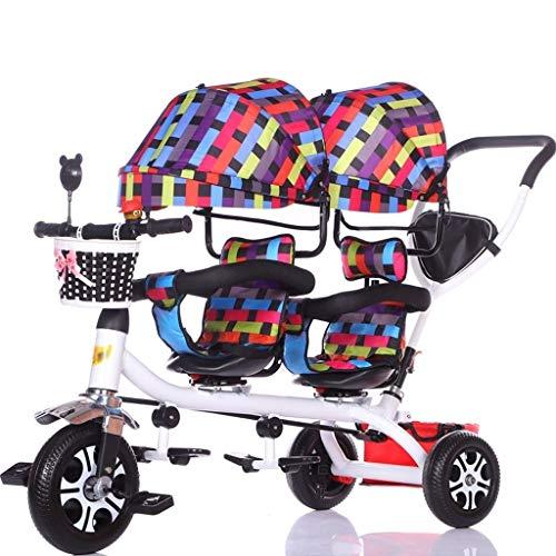 ZJJ Sillas de Paseo Cochecito de bebé, Cochecito de bebé, Carro de Viaje Triciclo Doble for niños Carro de bebé Gemelo Cochecito Grande Toldo extendido Carritos y sillas de Paseo (Color : B)