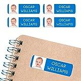 50 Etiquetas Adhesivas personalizadas, con foto o imagen, de 6 x 2cms, para marcar objetos, libros, fiambreras, etc. Color Azul Oscuro