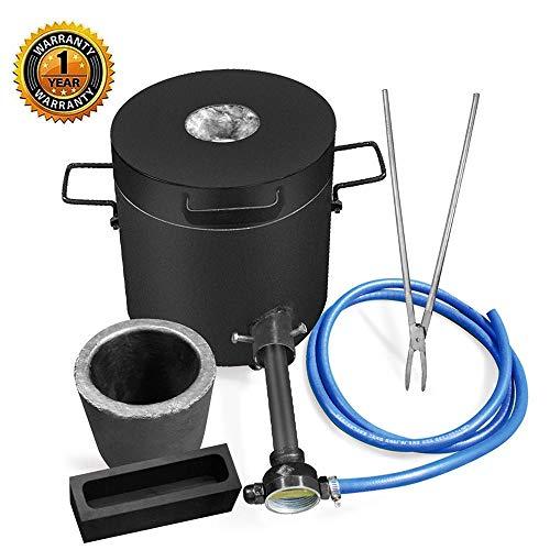Fasttobuy 6KG Gas Schmelzofen 1300°C /2372°F, Automatischer Gasofen Kit mit Graphittiegel und Zange, Goldschmelzender Ofen
