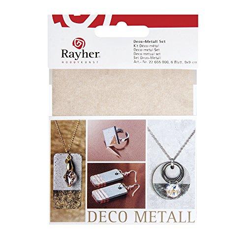 Rayher 22655000 Deco-Metall Set, 9x9cm, kupfer/gold/silber, SB-Btl 6Bl