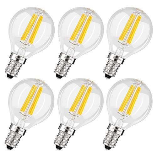 Albrillo E14 LED Lampe G45 - E14 Filament Mini Globe Leuchtmittel, 4W/400LM Ersatz 40W E14 Halogenlampe, Rustikalampe Filamentstil klar, 360° Abstrahlwinkel, nicht dimmbar, 6er-Pack