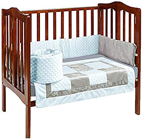 Baby Doll Bedding Croco Minky Mini Crib/Port-a-Crib Bedding, Blue/Grey