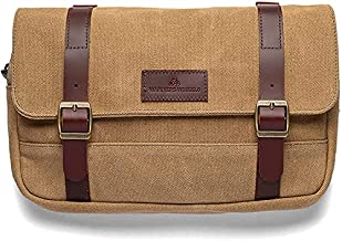 WARNERS WHEELS Handlebar Bag for Bicycles – Vintage Bike Pouch Bag for Handle Bar and Bike Frame – Waterproof Bike Front Mount Storage Bicycle Bag with Canvas and Genuine Leather Straps