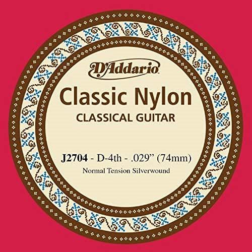 D\'Addario J2704 - Cuerda individual de nailon para guitarra clásica, nivel principiante, tensión normal, cuarta cuerda, plateado