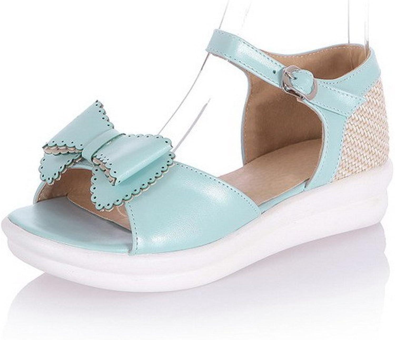 AllhqFashion Women's Open Toe Low Heels Soft Material Assorted color Buckle Sandals