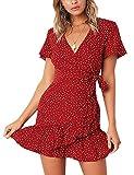 AIMCOO Vestido de manga corta para mujer, con estampado floral, cuello en V, cintura y dobladillo con volantes. - rojo - Large