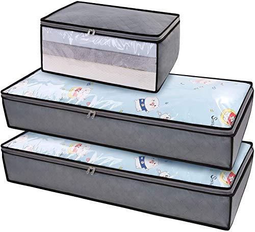 DIMJ Juego de 3 Bolsa de Almacenamiento de Ropa Bajo la Cama Gran Capacidad Organizador de Edredones con Ventana Transparente Bolsas para Edredones Mantas Ropa (gris)