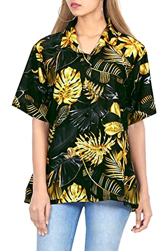 HAPPY BAY Women's Summer 3D Hawaiian Print Funky Crop Aloha Shirt L Black_AA491