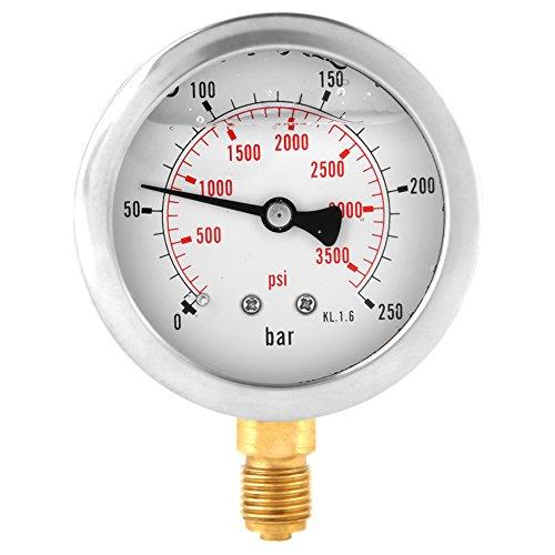 0-250Bar 0- 3750PSI G1 / 4 63mm Jauge Hydraulique Mesure de Pression d'Eau Cadran de Manomètre