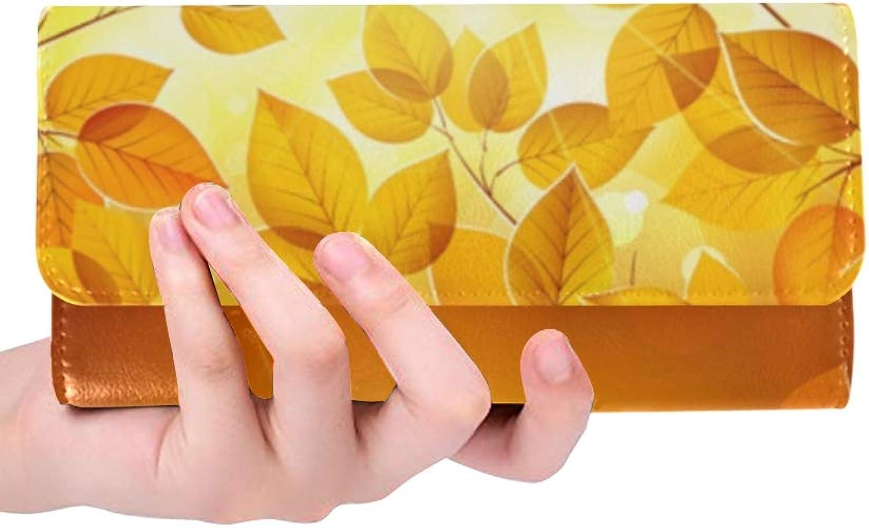 JOCHUAN Einzigartige benutzerdefinierte Herbst Blätter Frauen Trifold Brieftasche lange Geldbörse Krotitkarteninhaber Fall Handtasche B07Q5WGY3W