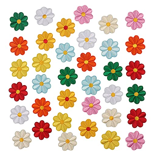 36 Pcs Parche de Flores de Margarita Parches de Ropa de Planchar Parches Apliques de Flores Bordado Decorativo Pegatina de Parche Insignia Bordado para Decoración Ropa Mochila Gorras Chaqueta