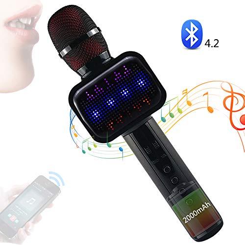 SEHNGY 4-in-1 karaoke-microfoon, bluetooth, luidspreker, player, recorder, draadloze microfoon, met LED-licht, voor thuis, op het podium, op feesten, kinderen