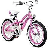 BIKESTAR Bicicleta Infantil para niños y niñas a Partir de 4 años | Bici 16 Pulgadas con Frenos | 16' Edición Cruiser Rosa