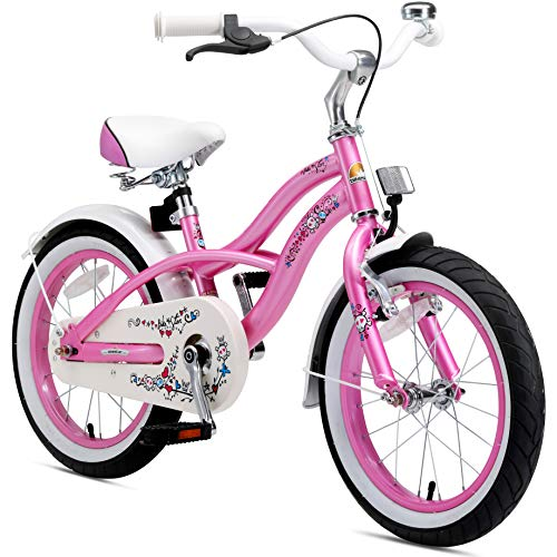 BIKESTAR Vélo Enfant pour Garcons et Filles de 4-5 Ans | Bicyclette Enfant 16 Pouces Cruiser avec Freins | Rose