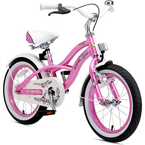 BIKESTAR Premium Sicherheits Kinderfahrrad 16 Zoll für Mädchen ab 4 - 5 Jahre ★ 16er Kinderrad Cruiser ★ Fahrrad für Kinder Pink
