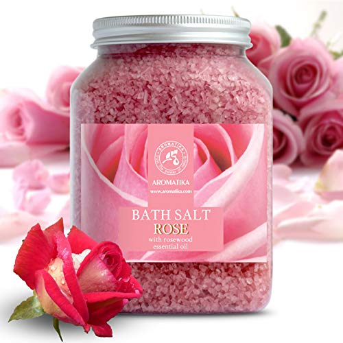 Rose Bath Salts - Natural Rosewood Oil & Rose Extract - Best for Relaxing - Good Sleep - Beauty - Bathing - Body Care - Wellness - Relax - Aromatherapy - Spa - De-Stress Bath Salts