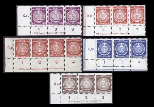 Goldhahn DDR Dienstmarken postfrisch 5 Verschiedene Druckvermerke Briefmarken für Sammler