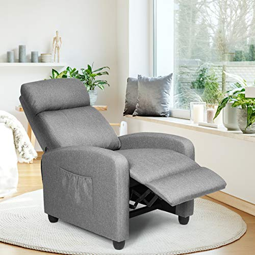 COSTWAY Recliner Armchair with Reclining Function and Adjustable Leg Rest, Upholstered Padded Single Sofa Seat, Home Office Living Room Lounge Chairs for Reading Resting Sleeping (Grey)