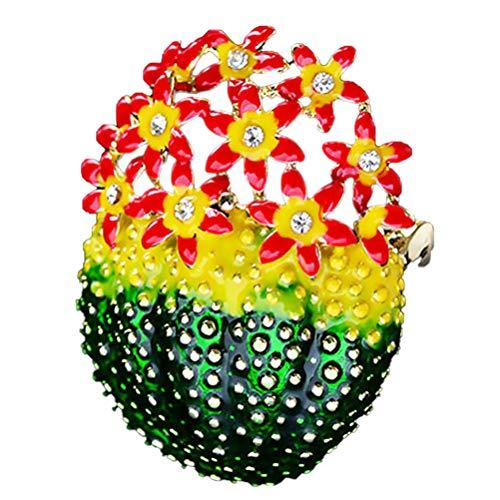 Happyyami Kaktus Brosche Pflanze Emaille Pin Blume Stoff Stifte Strass Kristall Weihnachtsbrosche Set für Mädchen Frauen Kinder Hut Hut Schal Dekorative Clip