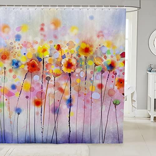 Cortina de ducha de tela de flores, cortina de ducha de pintura de arte de acuarela para baño, cortina de ducha de fantasía con graffiti rosa púrpura impermeable de 78 pulgadas de largo