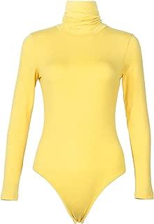 Womens Stretchy Long Sleeve Turtleneck Cotton Bodysuits Shiny Clubwear Tops Leotard Jumpsuits