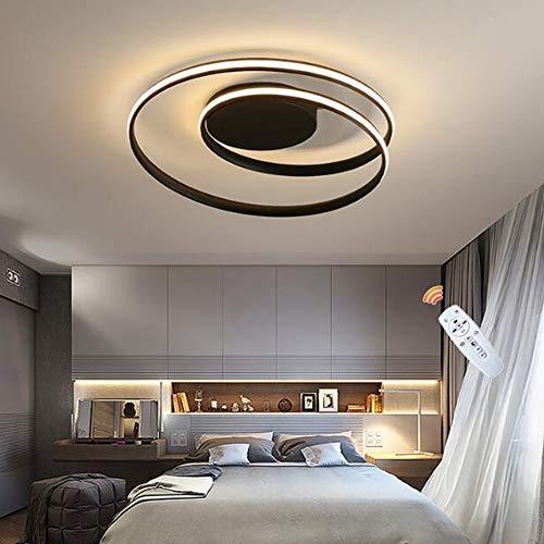 Lámpara De Techo Regulable LED Moderna Lámparas Colgantes Diseño Redondo Sala De Estar Dormitorio Cocina Iluminación Interior Candelabro Decorativo Con Control Remoto,Negro,45cm