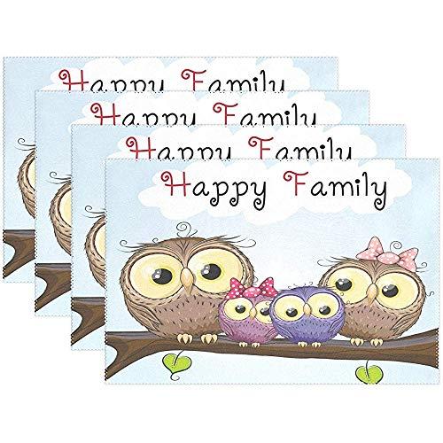 Nette Eulen-glückliche Familien-Tischset-Tischset, Vater-Mutter-Tochter-Polyester-Tischset für Küche-Esszimmer-Satz von 6, 45X30Cm