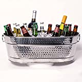 BREKX Colt Hammered Stainless-Steel, Mirror-Finish Beverage Tub, Ice and Drink Bucket with Handles,...