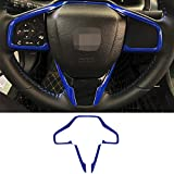 GZXinWei Car ABS Steering Wheel Trim Interior Decoration Sticker Accessories Blue for Honda 10th Gen Civic 2016 2017 2018 2019 2020