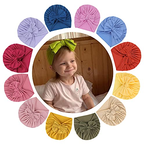 KAKU NANU 12 unidades de turbantes para niña, suave turbante para bebé, niña, 12 PCS Baby Turban Mädchen, 30