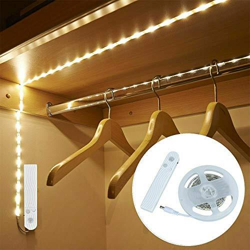 LTXDJ Tiras de luz LED con sensor de movimiento, iluminación LED para gabinete de 3M, luces para armario, tira de luz LED con sensor de movimiento operada por batería / USB para armario, escalera