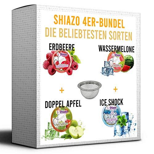 Shiazo Dampfsteine [4 STÜCK + COCO BLANCO SIEB] Shisha Tabak Alternative Niktotinfrei Tabakersatz [MADE IN GERMANY] Krasser Geschmack + Kein Niktoin