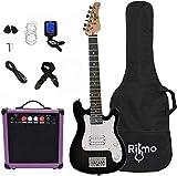 Kids 30 Inch Electric Guitar and Amp Complete Bundle Kit for Beginners-Starter Set Includes 6 String Guitar, 20W Amplifier with Distortion, 2 Picks, Shoulder Strap, Tuner, Bag Case - Black