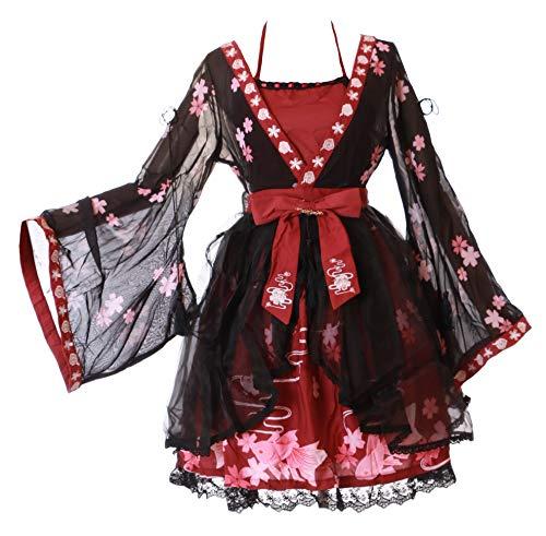 JSK-37-2 Negro Rojo Japón flores de cerezo bordado Sakura Oro Pez Vintage Retro Vestido Pastel Goth Lolita Cosplay Disfraz Kawaii