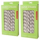(144 per Carton) Paper Straws [Set of 2] Color: Gray