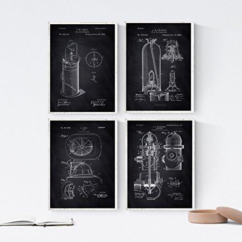 Nacnic Negro - Pack de 4 Láminas con Patentes de Equipamiento Medico. Set de Posters con inventos y Patentes Antiguas