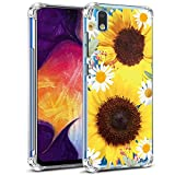 Galaxy A10E Case,Galaxy A10E Case with Flowers, Ueokeird Slim Shockproof Clear Floral Pattern Soft Flexible TPU Back Phone Case Cover for Samsung Galaxy A10E (Sunflower)