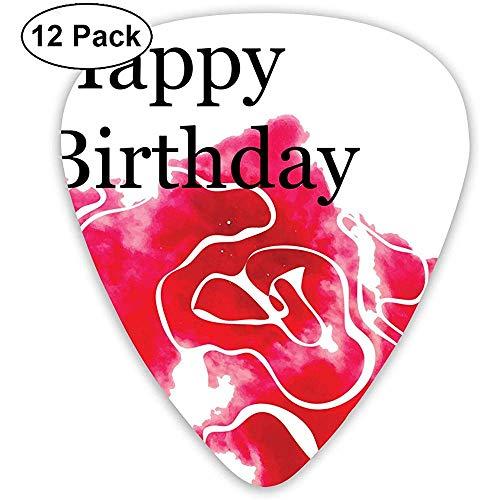 12 Pack wenskaart sjabloon met aquarel rozengitaar picks complete gift set voor gitarist