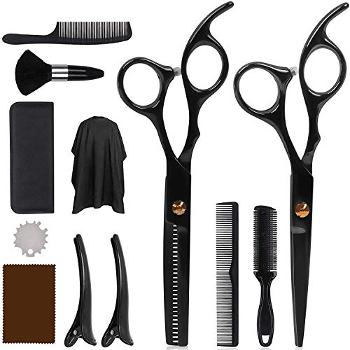 DigHealth 12 Pcs Hair Cutting Scissors Set, Professional Hairdressing Shears Kit with Stainless Steel Thinning/Texturing Scissors, Barber Cape, Comb and Clips, Haircut Scissor Kit for Men, Women, Kids