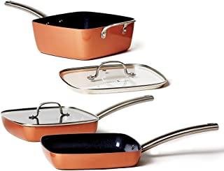 Copper Chef Stack-able Black Diamond 5-piece Non-Stick Fry Pan Set, 9.5 Inch grill pan, 9.5 Inch griddle pan, 4.5 Quart sa...
