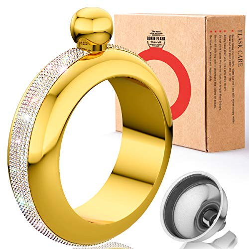 BOKIN Bracelet Bangle Flask 304 Stainless Steel Wine/Alcohol Wrist Flasket with Handmade Rhinestone Lid, Funnel in Gift Box for Dance Birthday Party Club Bar 3.5oz (Rainbow Crystal Rose Gold)