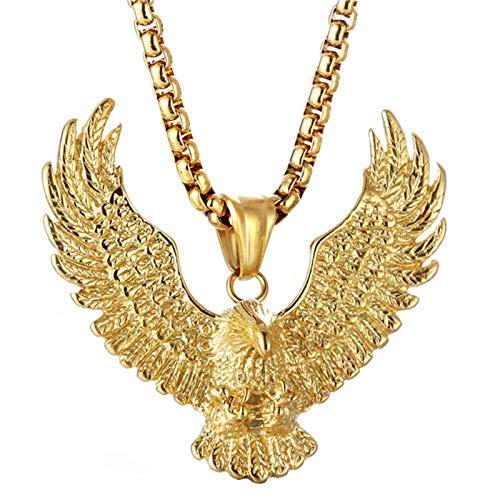 Daesar Herren Halskette Gold Adler Anhänger Kette Edelstahl Freundschaftskette