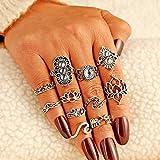 Wonderful Day Boho Vintage Gold Star Midi Moon Rings Set para Mujeres Opal Crystal Midi Finger Ring Female Bohemian Jewelry Gifts, AGH950356