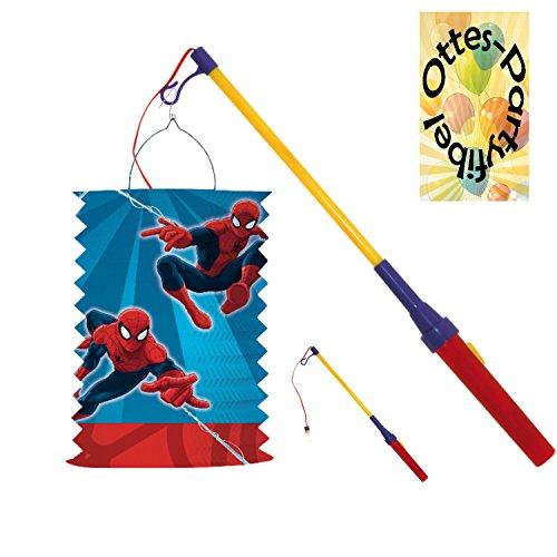 HHO Laternenset Zuglaterne Lampion Spiderman + LED Laternenstab Leuchtstab