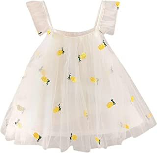 WARMSHOP Newborn Baby Girl Classy Summer Pineapple Embroidery Casual Strap Dress Tulle Party Tutu Skirt